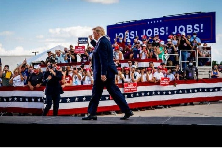 New York Times article President Trump Live briefing in Oshkosh August 2020