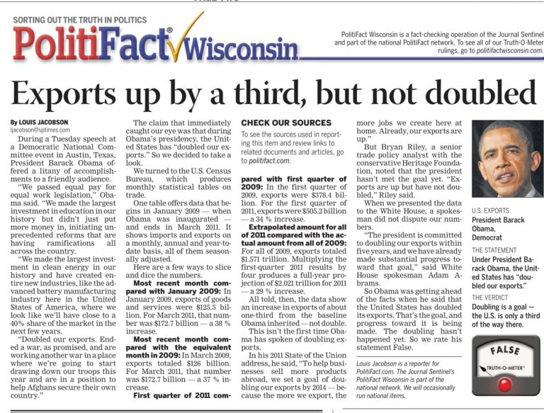 Politifact-journalist-headline-article-US-exports-up-by-third-in-2009