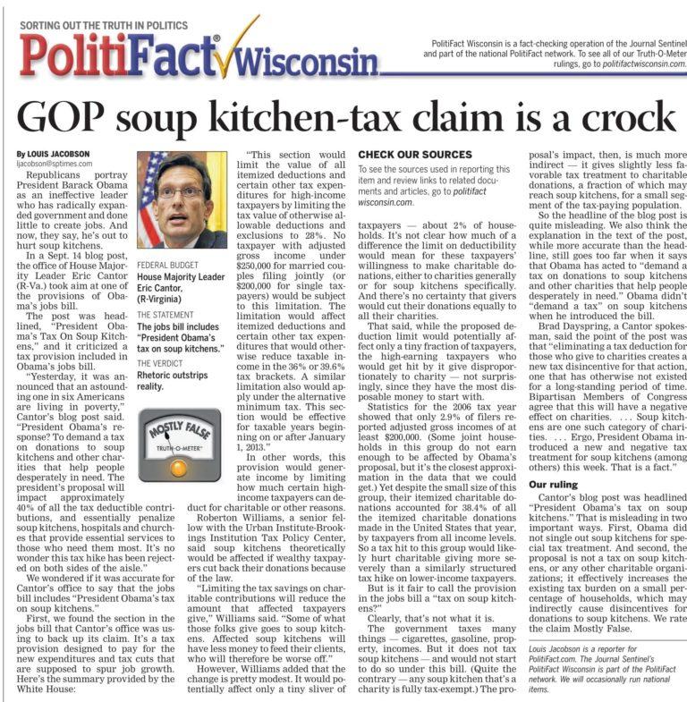 PolitiFact-journalist-headline-article-about-GOP-soup-kitchen-tax-claim