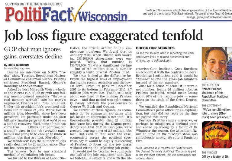 Politifact-journalist-headline-article-about-job-loss-in-Wisconsin