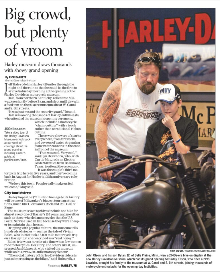 Journalist headline story for a business newspaper about the opening of Harley Davidson Museum