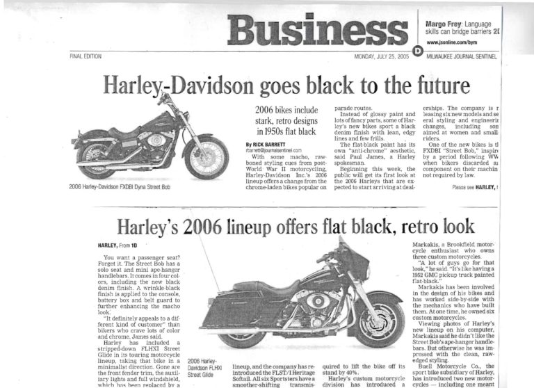 Business-journalist-headline-article-about-Harley-Davidson-goes-black-to-the-future-in-2005
