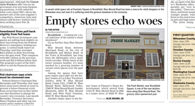 Journalist-headline-story-for-business-newspaper-about-empty-stores-in-Milwaukee-area