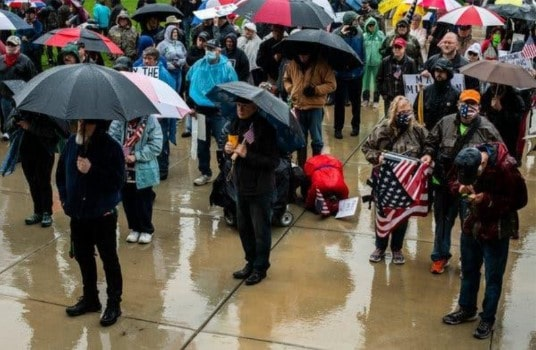 article-new-york-times-Protesters-in-Lansing,-Mic-gathered-at-the-State-Capitol
