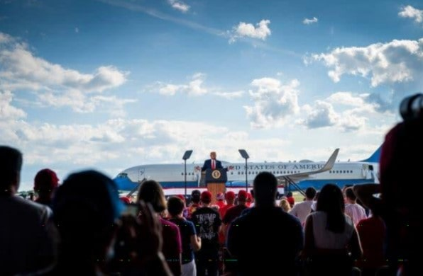 President-Trump-speaking-at-a-campaign-rally-in-Oshkosh-August-2020